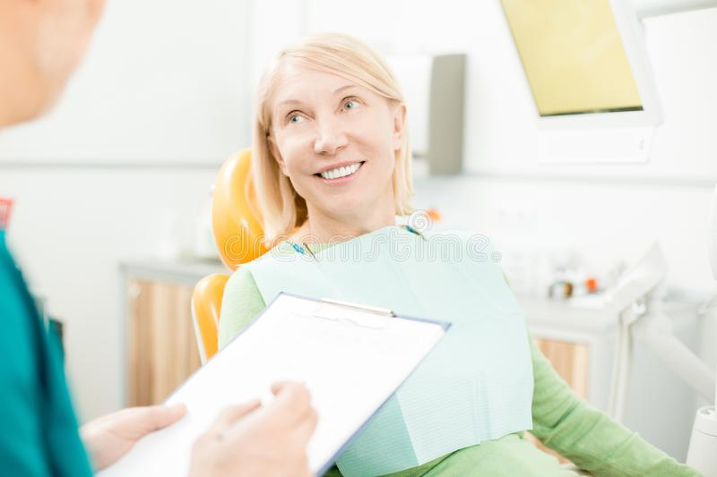 Visiting dentist stock image