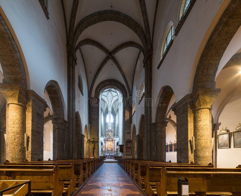 Visiting Franziskanerkirche church in Salzburg. Austria stock images