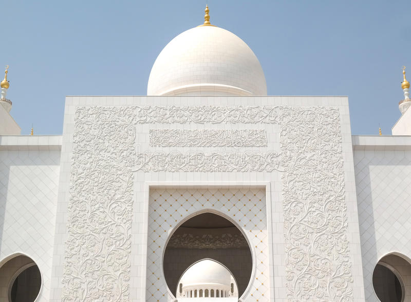 Visiting The Grand Mosque in Abu Dhabi. Beautiful sunny day royalty free stock image