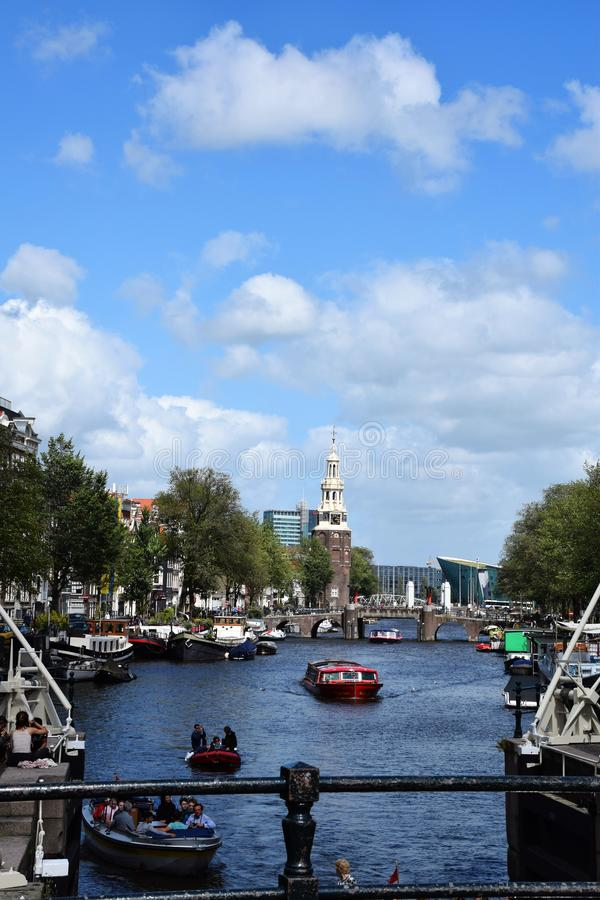 View from Magere Brug, Kerkstraat - Visiting the city of Amsterdam, Holland, Netherlands royalty free stock image