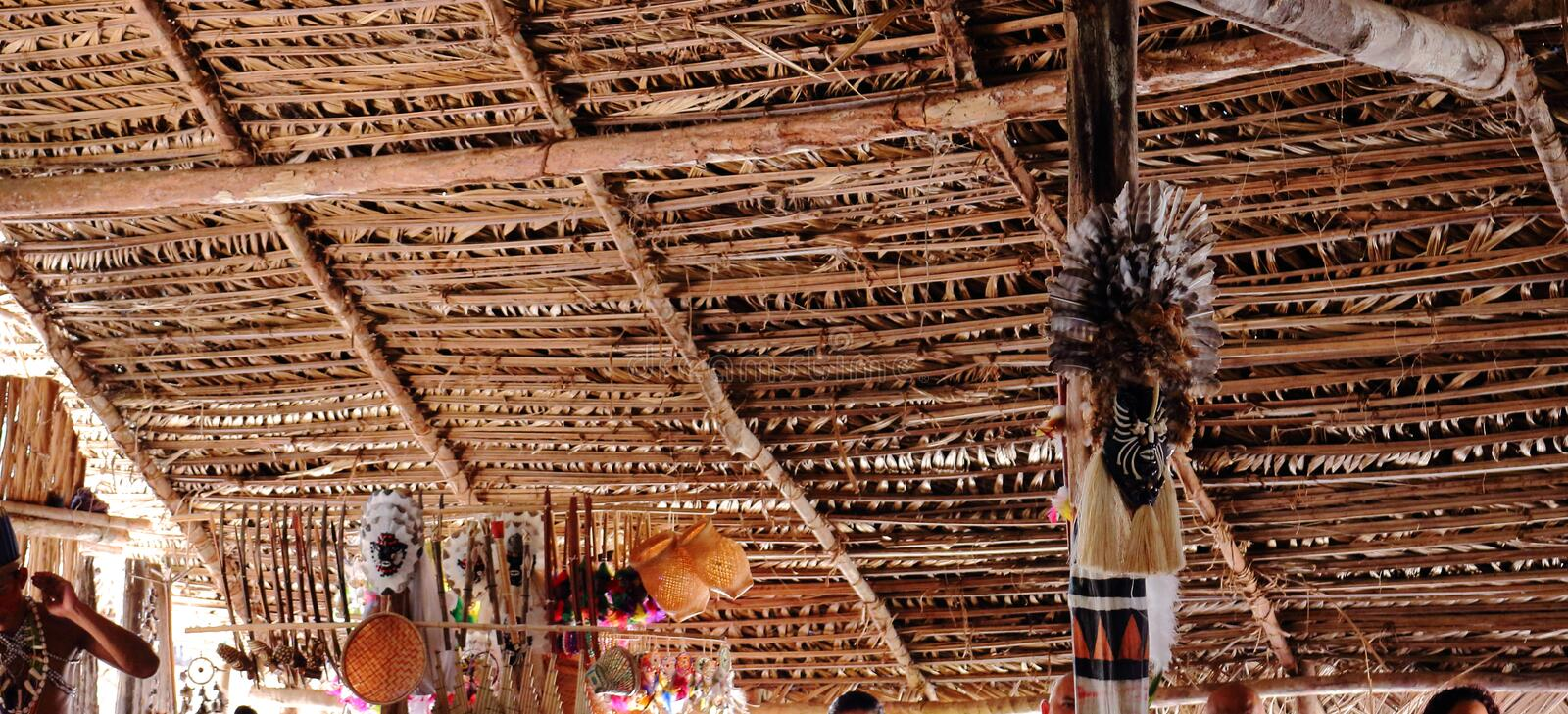 Visiting indigenous tribe in Amazonas, Brazil. They show their culture, dancing, food, arts and habits. Eco tourism in Brazil stock photos