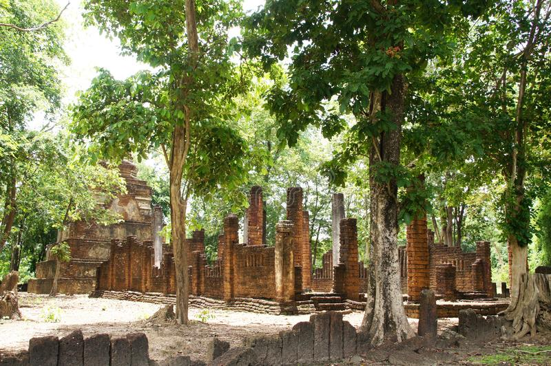 Visiting the old town in sukhothai, thailand, there is an old stone structure. hundreds of years old. Visiting the old town, in sukhothai, thailand, there is an royalty free stock image