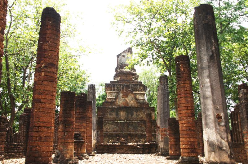 Visiting the old town, in sukhothai, thailand, there is an old stone structure. hundreds of years old, beautiful royalty free stock photos