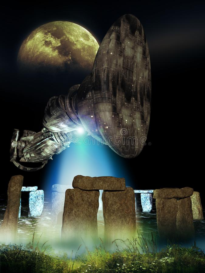 Visiting Stonehenge. Appalling unidentified flying object arriving above the Stonehenge monument, under the Moon and stars. Studies say that the stone placements royalty free stock photography