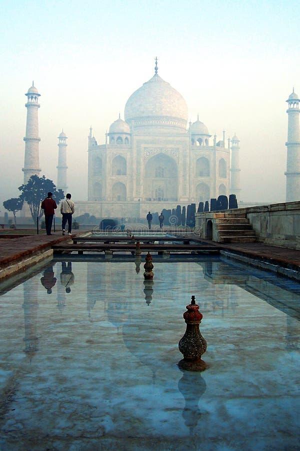 Visiting the Taj Mahal. Early morning visitors to the Taj Mahal stock photo