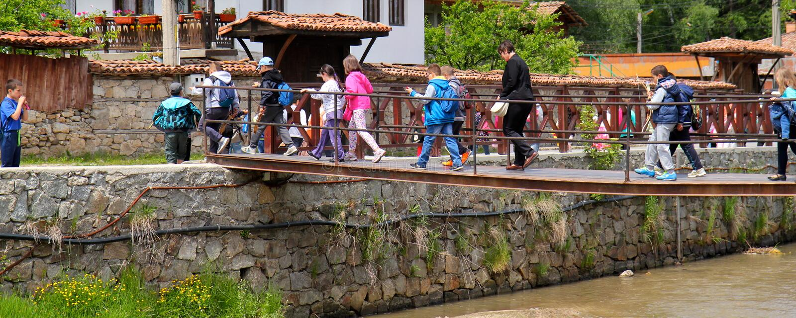 Visiting traditional village stock image