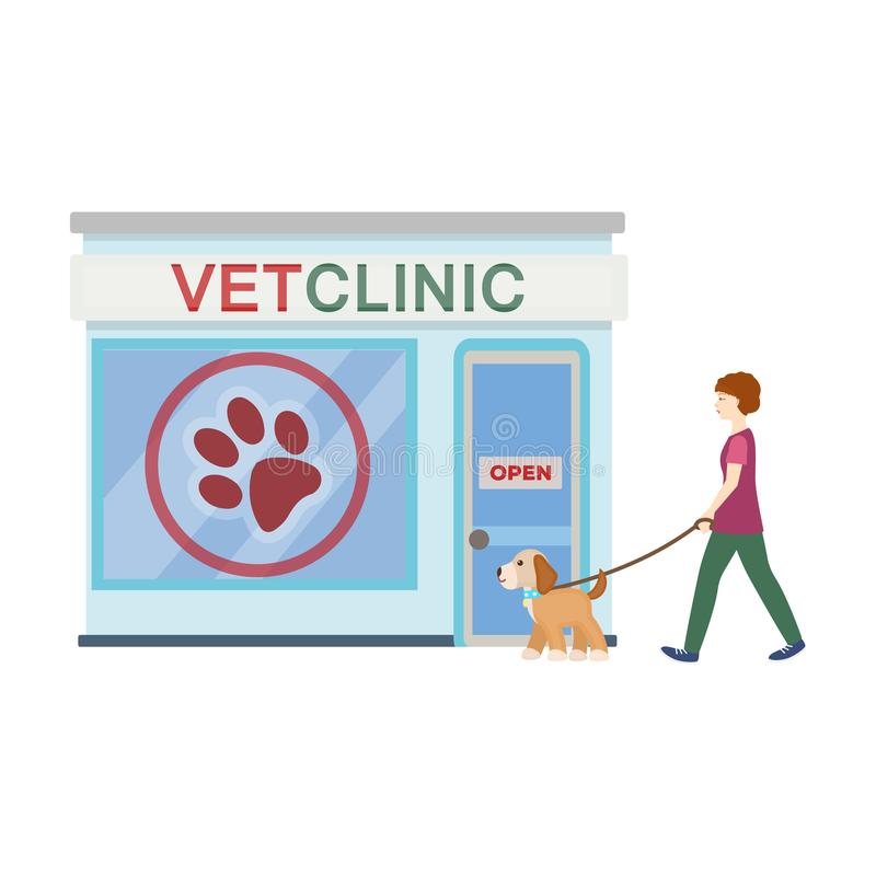 Visiting the vet clinic, the pet,dog on a leash with the hostess. Pet,dog care single icon in cartoon style vector royalty free illustration