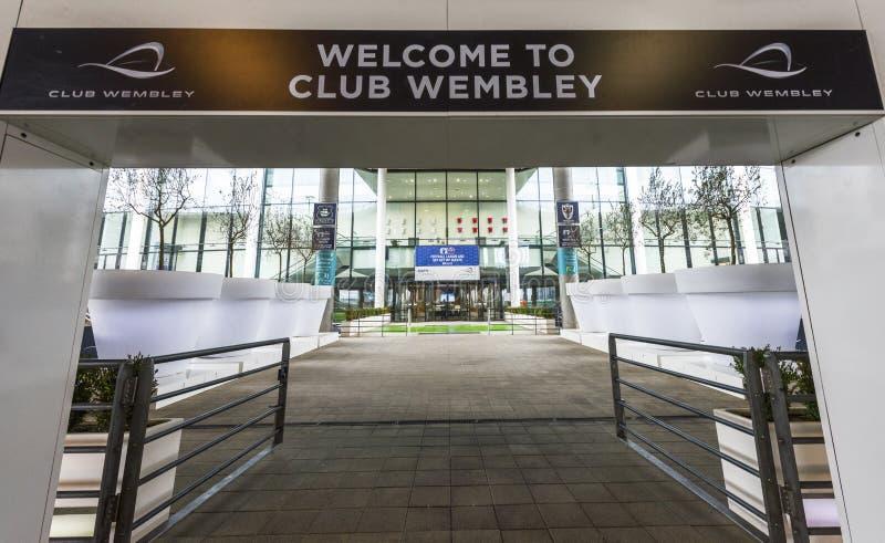 Visiting Wembley stadium stock image