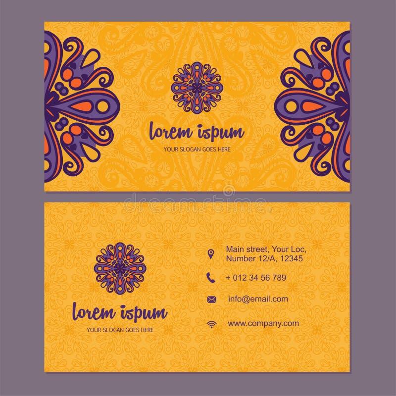 Visitkorten och affärskortuppsättningen med mandalaen planlägger beståndsdelen royaltyfria foton