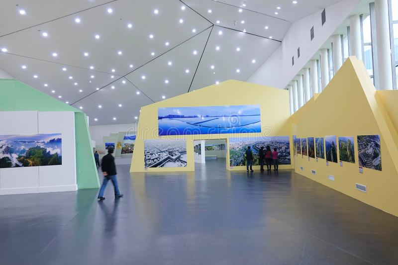 Photography Exhibition. During 2017.10.15-2017.10.30, the visitoes were watching the Aerial Photography Exhibition held in Taiyuan Art Museum in Taiyuan, Shanxi royalty free stock images