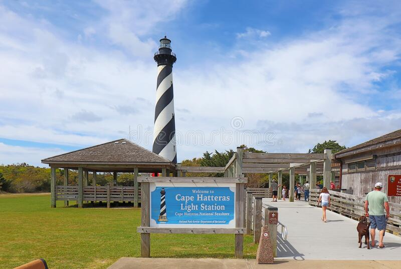 Visitor center at the Cape Hatteras Light Station. BUXTON, NORTH CAROLINA - APRIL 17 2019: Tourists at the visitor center for the Cape Hatteras Light Station royalty free stock photo