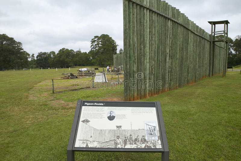 Visitor map of National Park Andersonville or Camp Sumter, site of Confederate Civil War prison and cemetery for Yankee Union pris. Oners royalty free stock photo