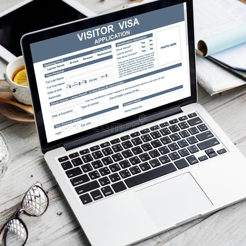 Visitor Visa Application Immigration Concept. Application Visitor Visa Form Concept stock image