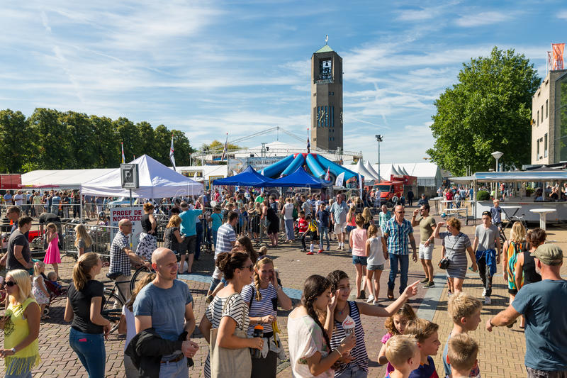 Visitors at an agricultural potato festival in Emmeloord, the Netherlands. EMMELOORD, THE NETHERLANDS - SEP 10: Visitors at an agricultural potato festival on stock photos
