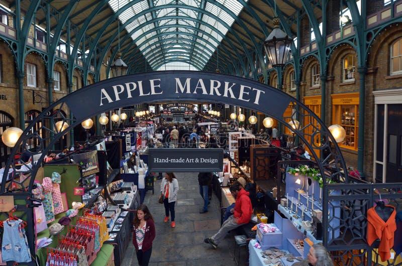 Visitors in Apple Market in Covent Garden in London, UK stock image