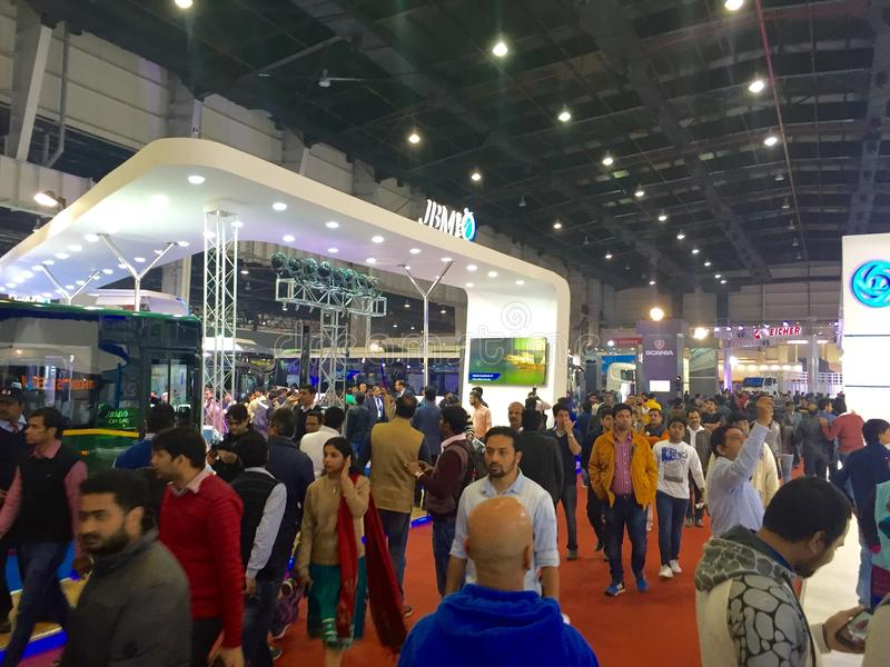 Visitors at Auto Expo 2016 at Noida, India. The Auto Expo 2016 held in Noida, India from 5th to 9th February 2016 is the biggest in its history as manufacturers stock photography