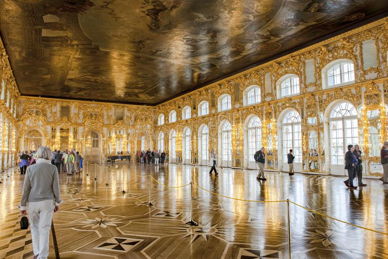 Visitors in Ballroom Catherine Palace, St. Petersburg royalty free stock photos