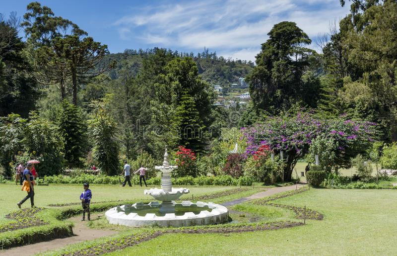 Visitors in the beautiful park located at Nuwara Eliya town. In Sri Lanka stock photography