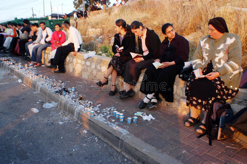 Visitors celebrate Lag BOmer at Rebbe Shimon Bar Y stock images