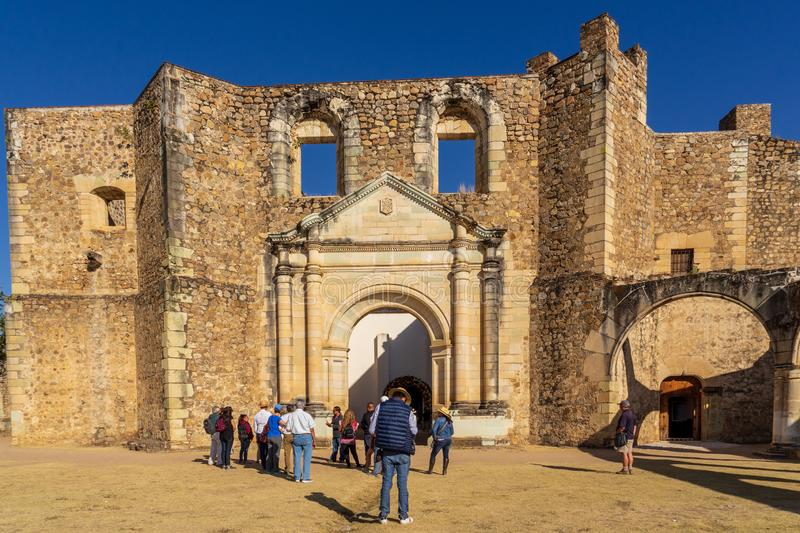 Visitors at Cuilapam covent , Mexico. Cuilapam covent, in Oaxaca area, was built in 1555 by Dominican priests to evangelize Indians in the area royalty free stock images