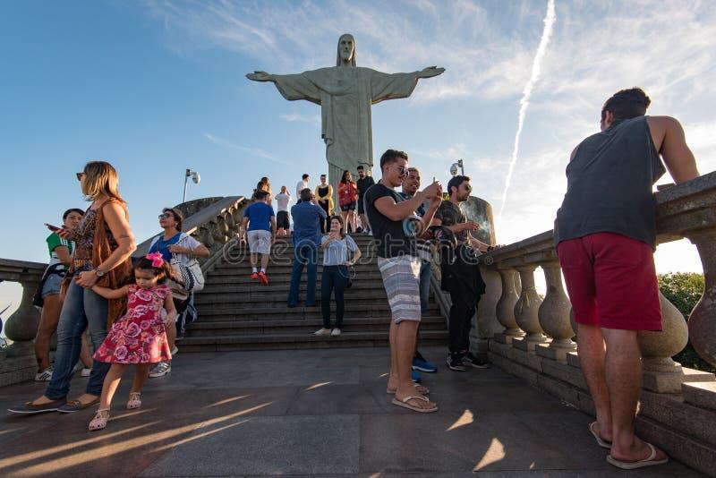 Visitors Enjoying Christ the Redeemer Statue stock image