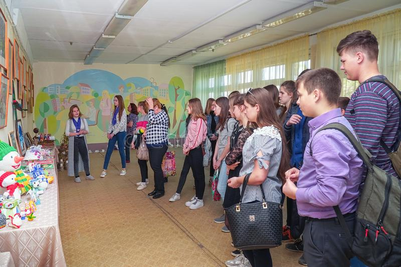 Visitors at the Exhibition of works by students at the College of the city of Chapaevsk royalty free stock images