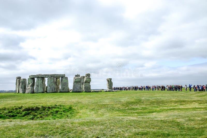 Visitors at the famous world heritage Stonehenge stock image