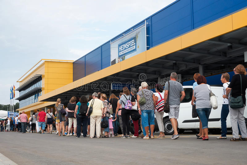 Ikea in Magdeburg. Visitors in front of the new Ikea branch in Magdeburg, just a few minutes before the opening royalty free stock image