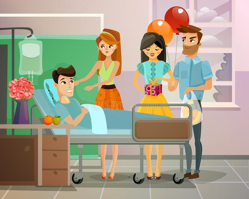Patient With Visitors Illustration. Visitors with gifts and balloons near lying patient on bed in hospital ward vector illustration vector illustration