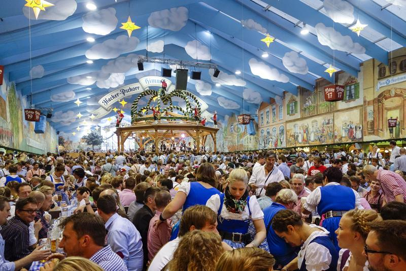 Oktoberfest beer festival in Munich, Germany. Visitors in the Hacker-Pschorr Beer tent at the Oktoberfest in Munich, Bavaria, Germany, Europe stock photo