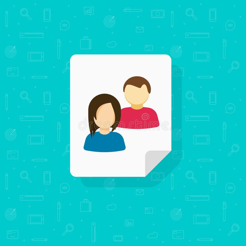 Visitors icon vector, flat cartoon users group or persons on document, concept of audience data symbol, customers stock illustration