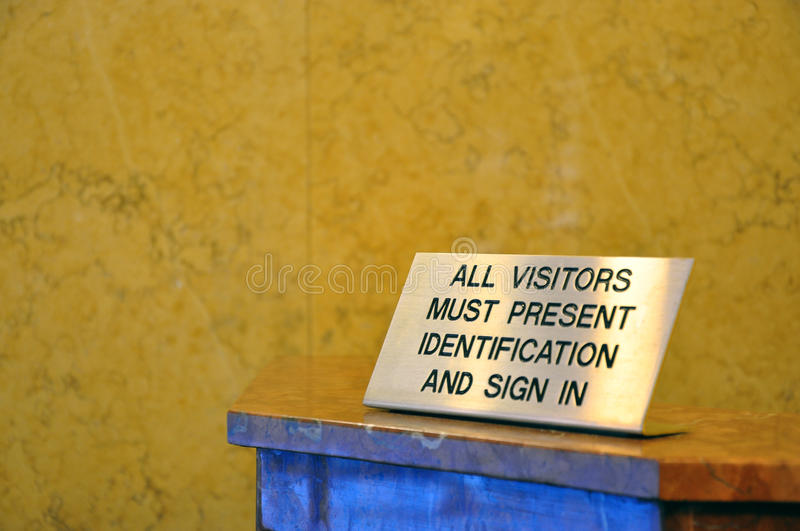 Download Visitors Must Show Security Identification Stock Image - Image: 13608571
