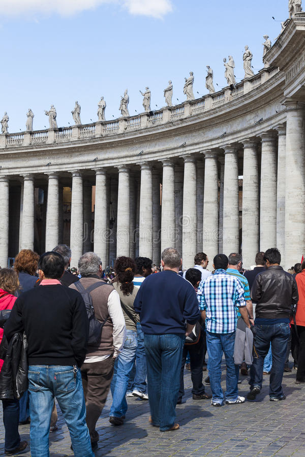 Visitors, piazza san pietro Rome. Visitors waiting to get into the Vatican royalty free stock photography