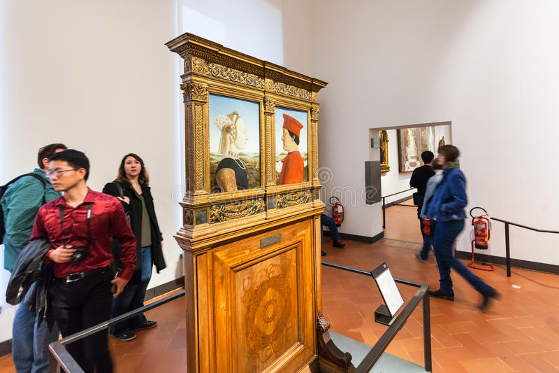 Visitors in room of Uffizi Gallery royalty free stock photography