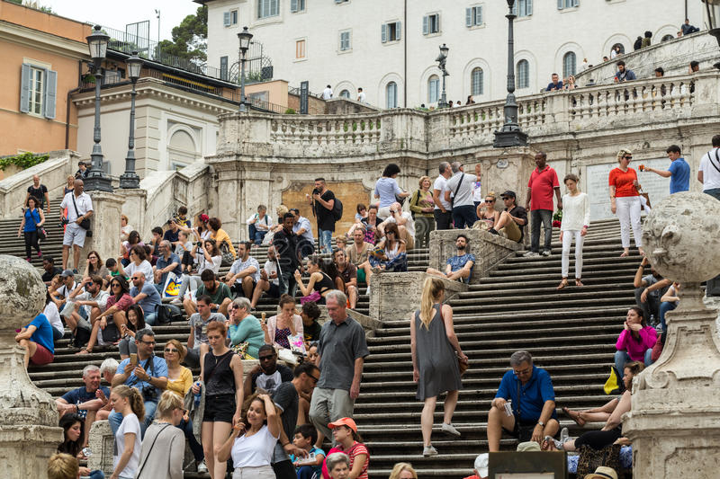 Visitors at the Spanish Steps. On June 15, 2015 in Rome, Italy.Built in 1723-1725 by a design of the architect Francesco de Sanctis and financed by French stock photos