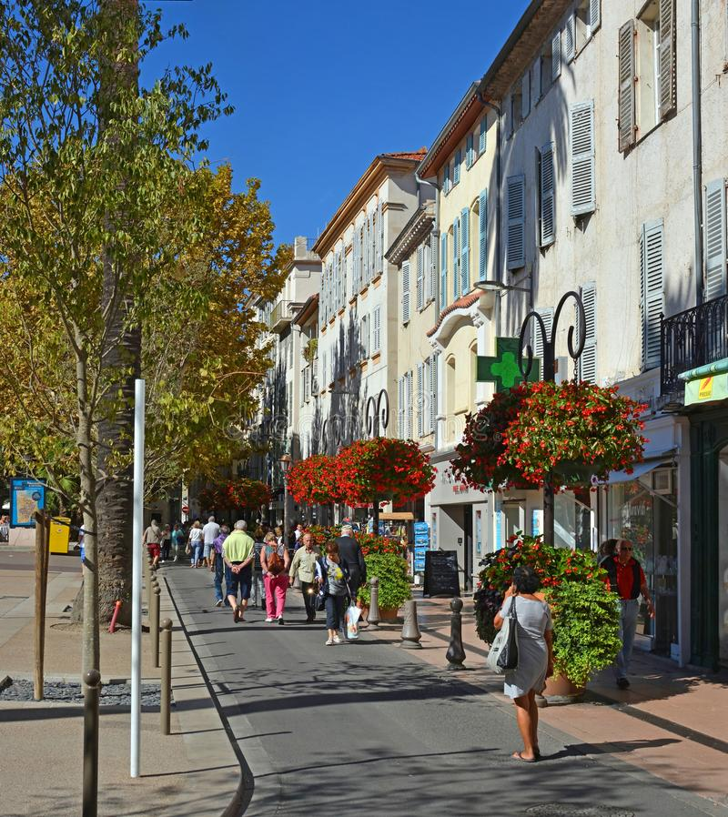 Visitors Stroll in Antibes Square, Cote d;azur, provence france royalty free stock photo