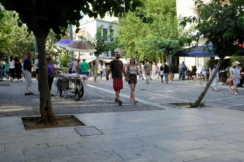 Visitors Strolling in the Plaka, Athens, Greece stock photos