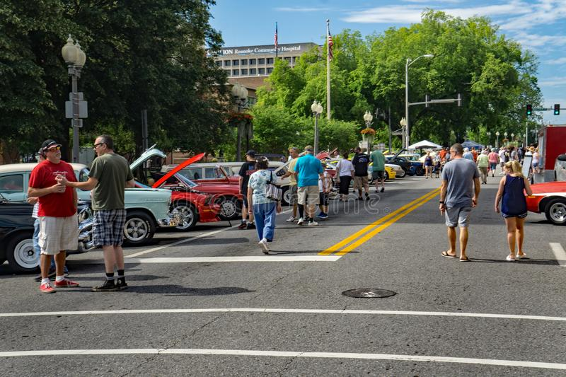 Visitors at the 19th Annual Star City Motor Madness. Roanoke, VA, June 29th: Visitors at the Annual Star City Motor Madness Car and Truck Show located in Roanoke stock images