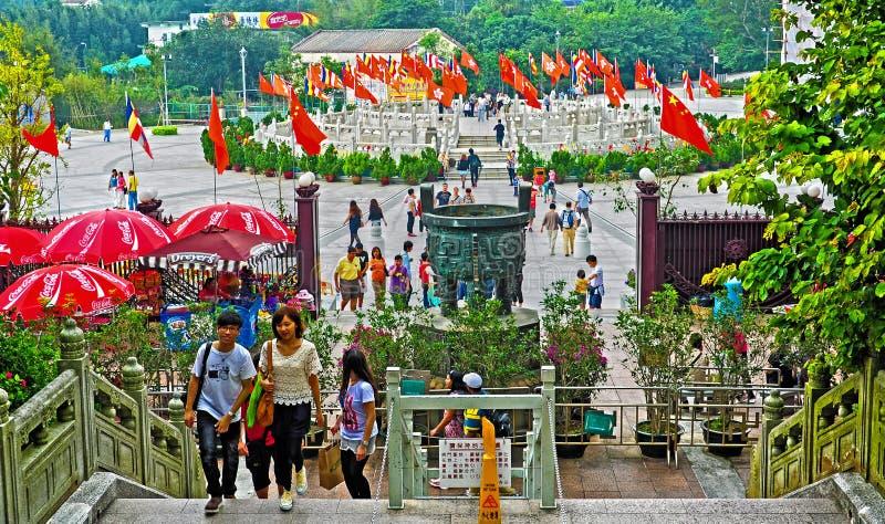 Visitors At Tian Tan Buddha Steps Editorial Photography