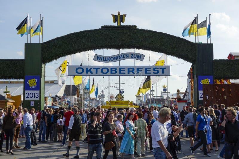 Oktoberfest beer festival in Munich, Germany. Visitors to the Beer Festival Oktoberfest in Munich, Bavaria, Germany, Europe stock images