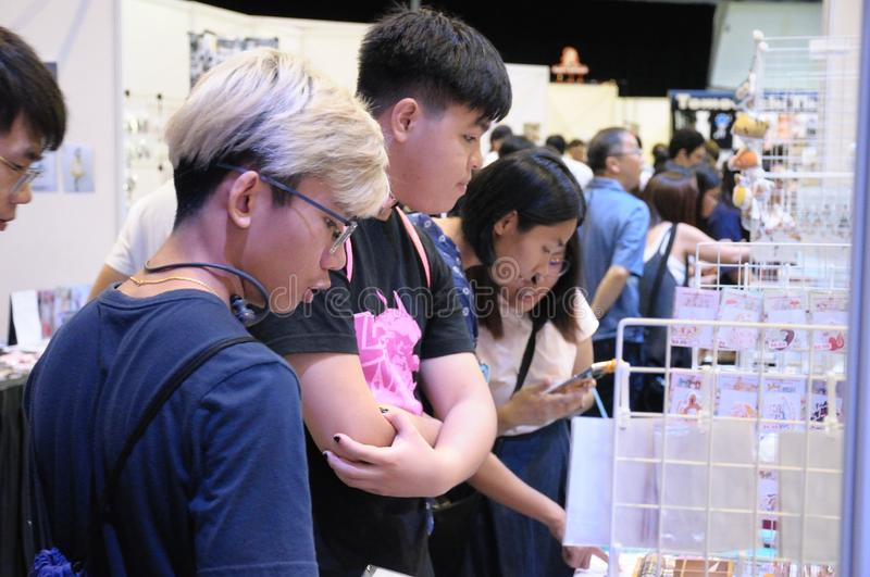 Visitors to Cosfest in Singapore on 20th July 2019 Sunday royalty free stock photography