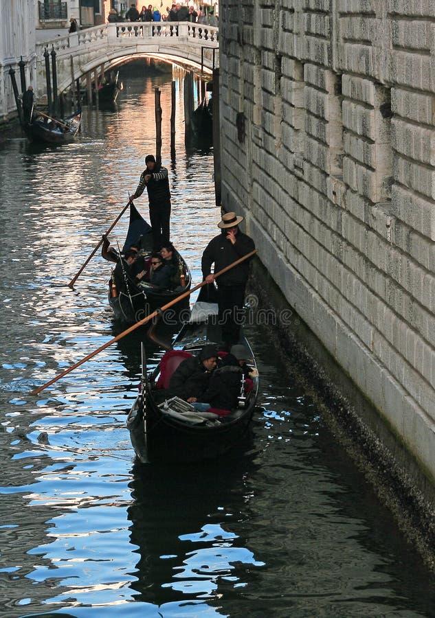 Visitors to Venice, Italy Enjoy a Gondola Ride stock photo