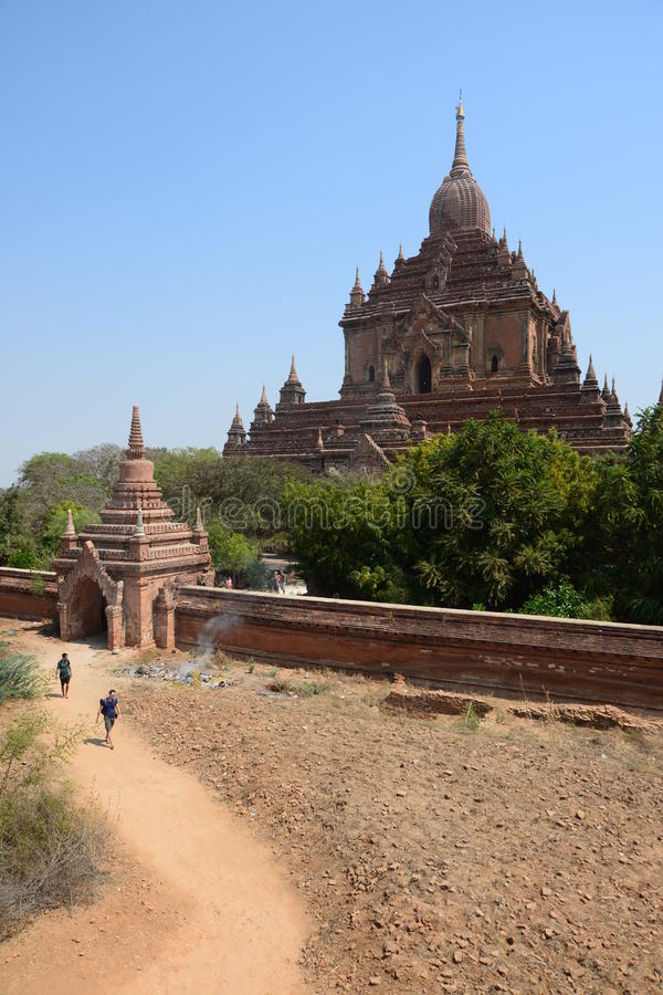 Visitors walk to pagoda stock images