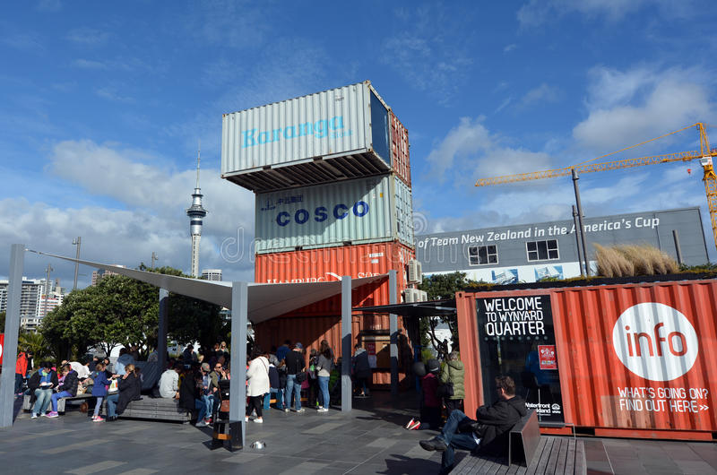 Visitors at Wynyard Quarter in Auckland New Zealand. AUCKLAND - AUG 01 2015:Visitors at Wynyard Quarter in Auckland New Zealand. In 2014 Auckland has again been stock photos
