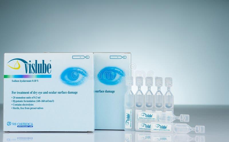 Vislube Natrium Hyaluronate 0 18% voor behandelings droog oog en oculaire oppervlakteschade de eenheid van 3 ml monodose Hypotoni stock foto