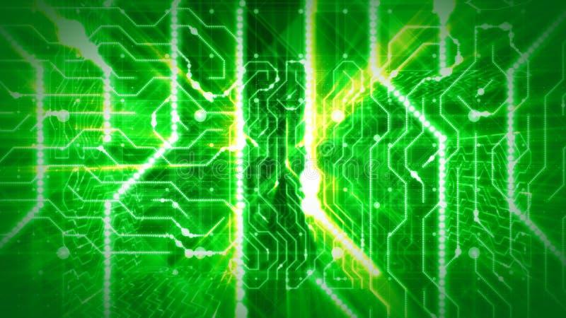 Vislumbrando rotas da placa de circuito verde ilustração do vetor