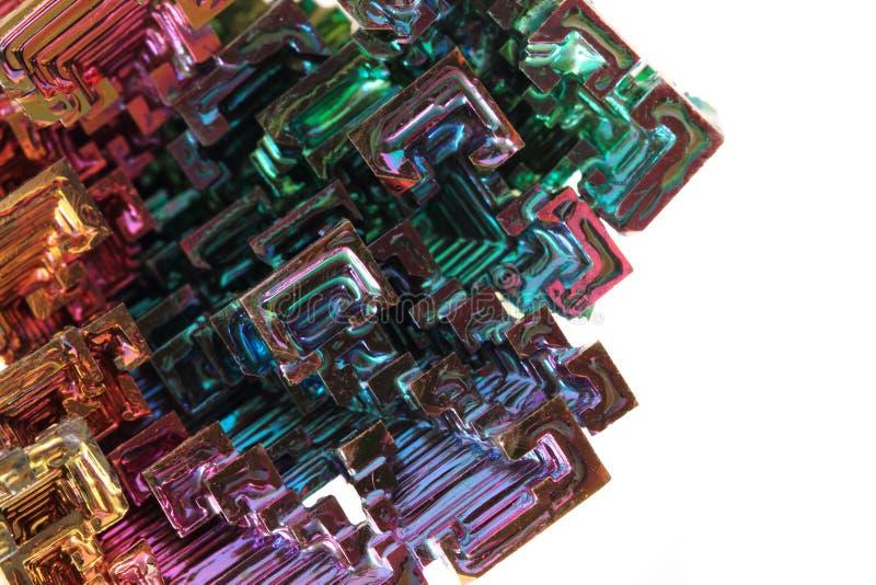 Vismut - regnbågemetalltextur arkivbilder