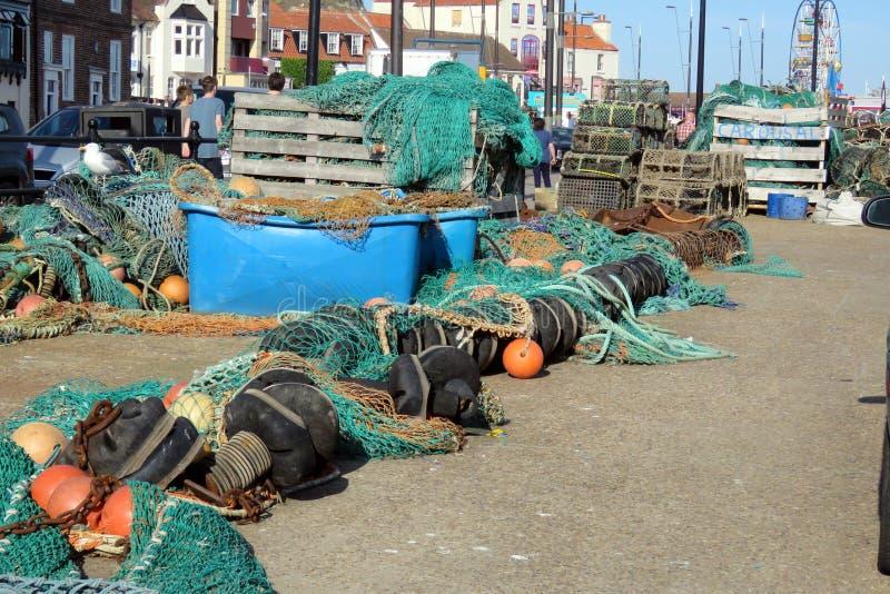 Visnetten, Boeien en Zeekreeftpotten stock foto's