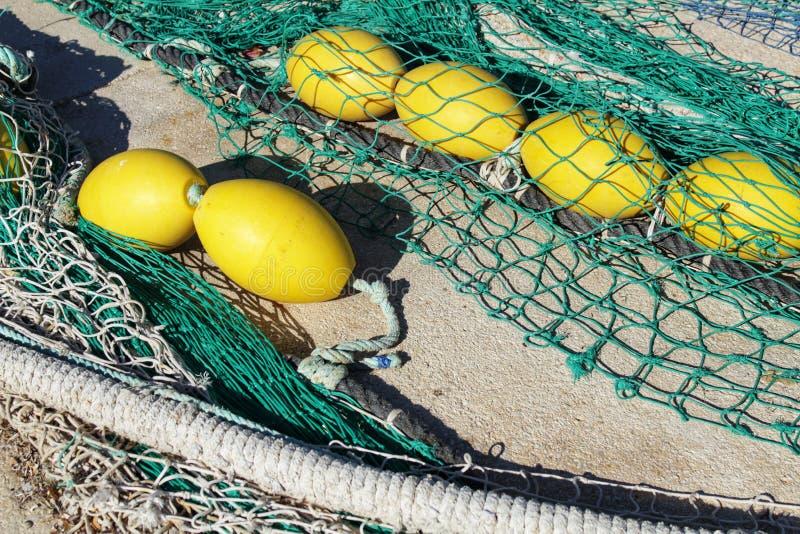 Visnetten in de haven van Santa Pola, Alicante-Spanje stock afbeelding
