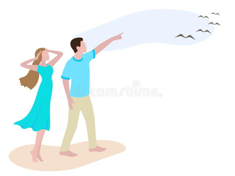 Visning för ung man till flickafåglar i himlen stock illustrationer